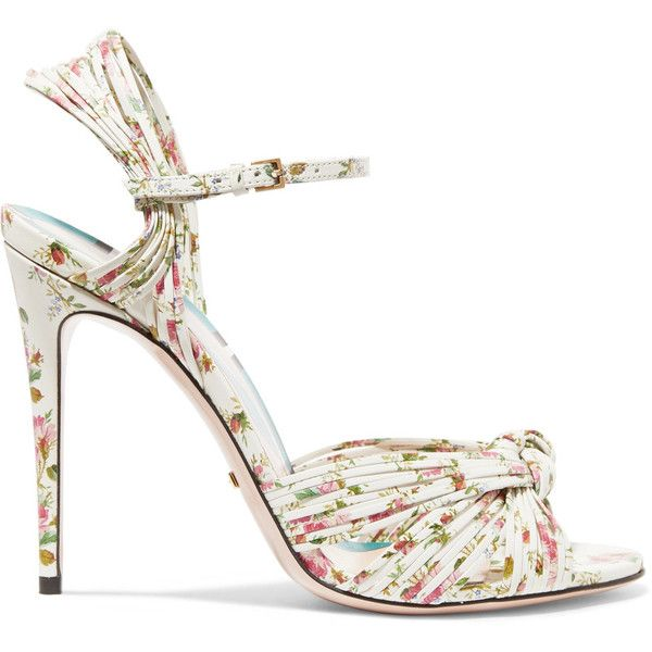 8d8584083c5e Gucci Knotted floral-print leather sandals ( 800) ❤ liked on Polyvore  featuring shoes
