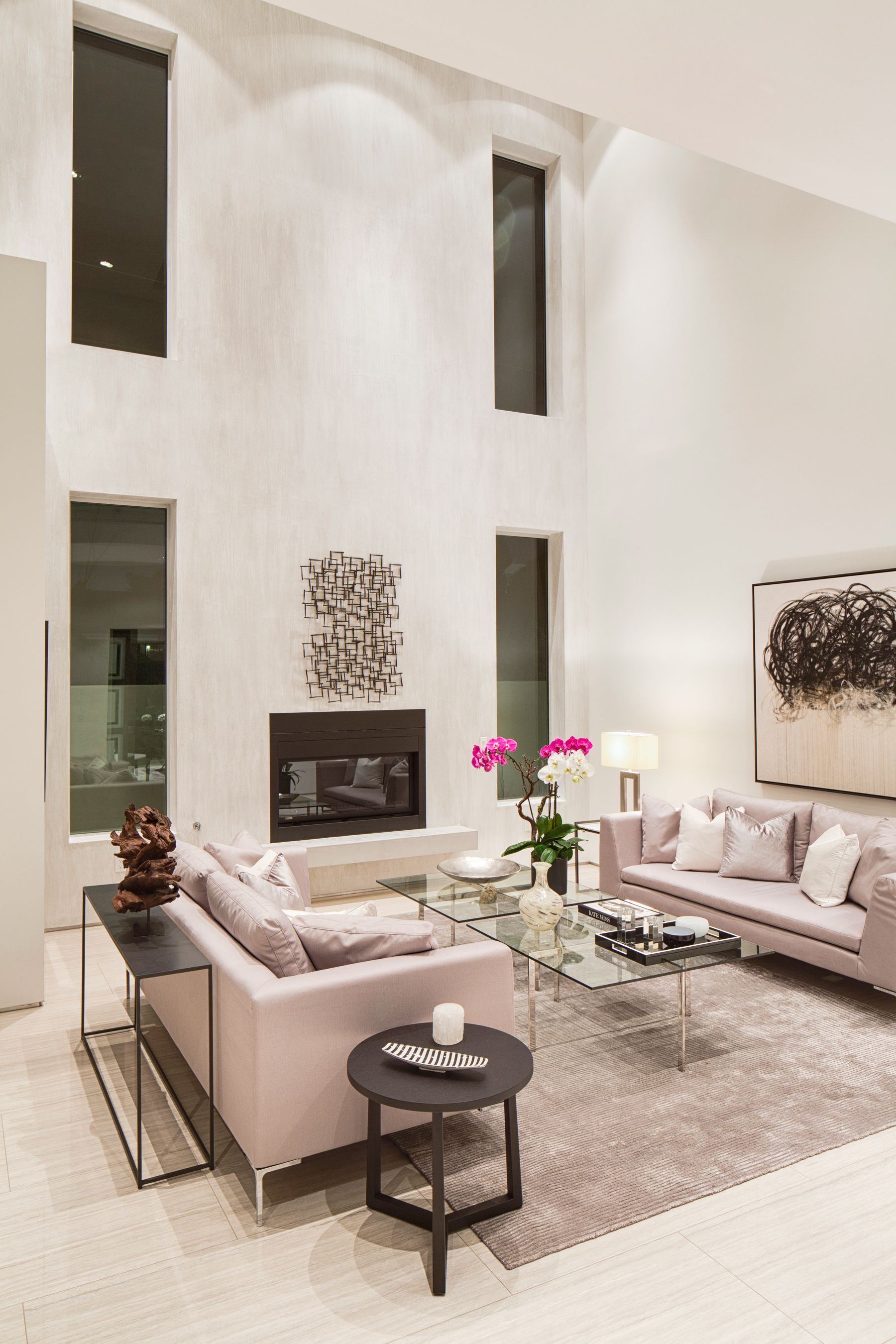 High Ceilings Neutral Decor Contemporary Formal Living Room At