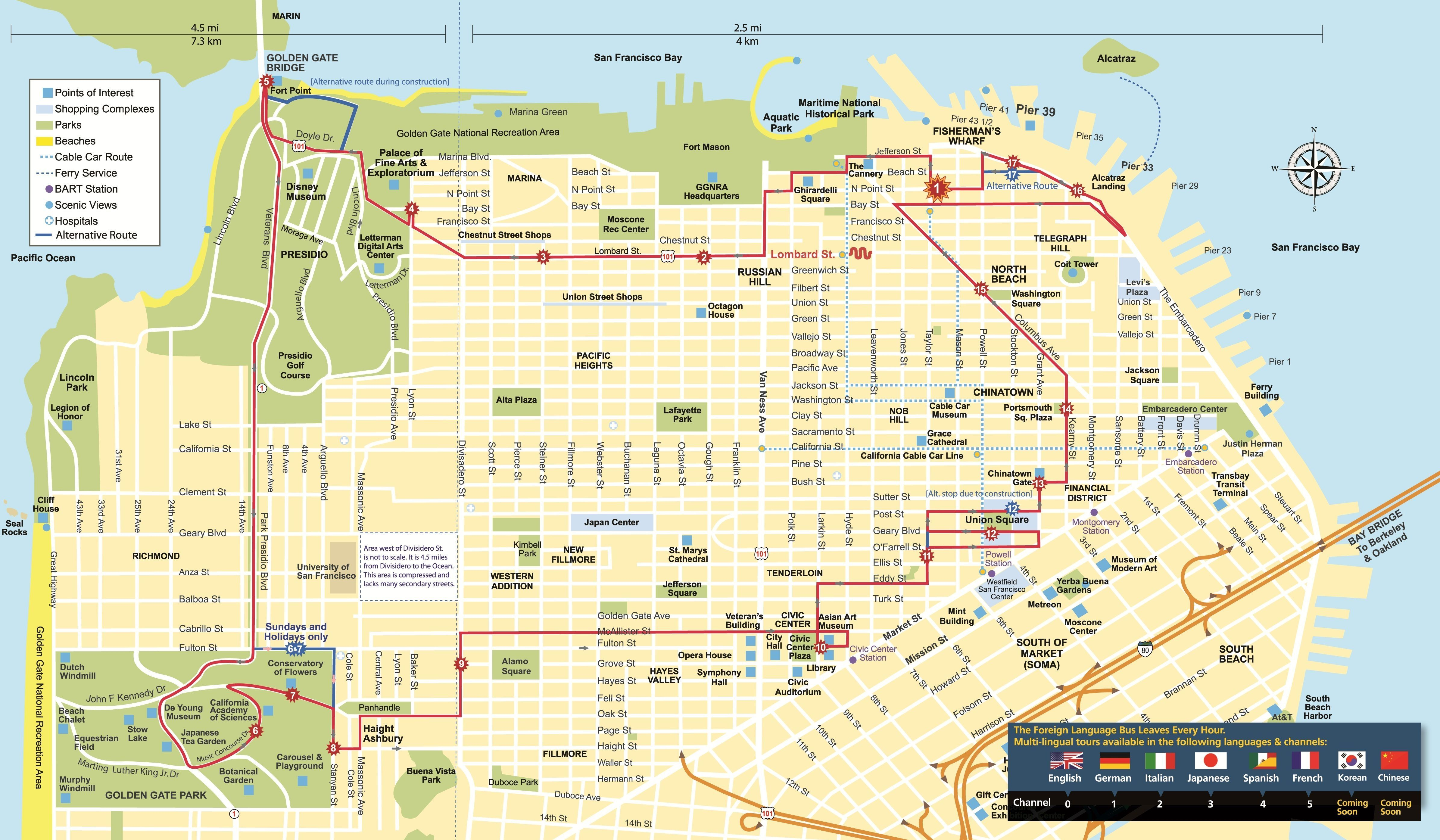 Maps Update 21051488 Tourist Attractions Map In San Francisco ...
