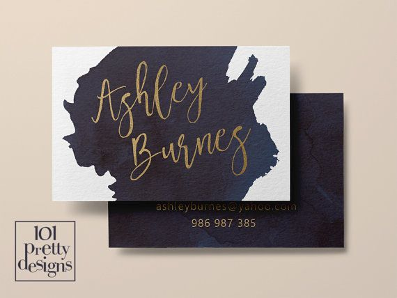 Watercolor business card template gold printable business card watercolor business card template gold printable business card design gold and navy business cards custom business card gold foil makeup reheart Gallery