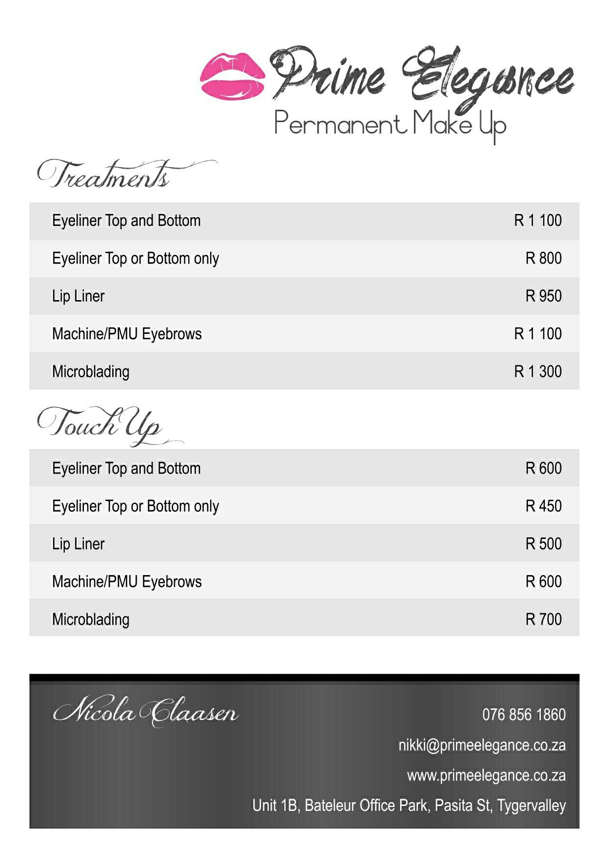 Treatments and prices. Lip liner, Microblading, Liner