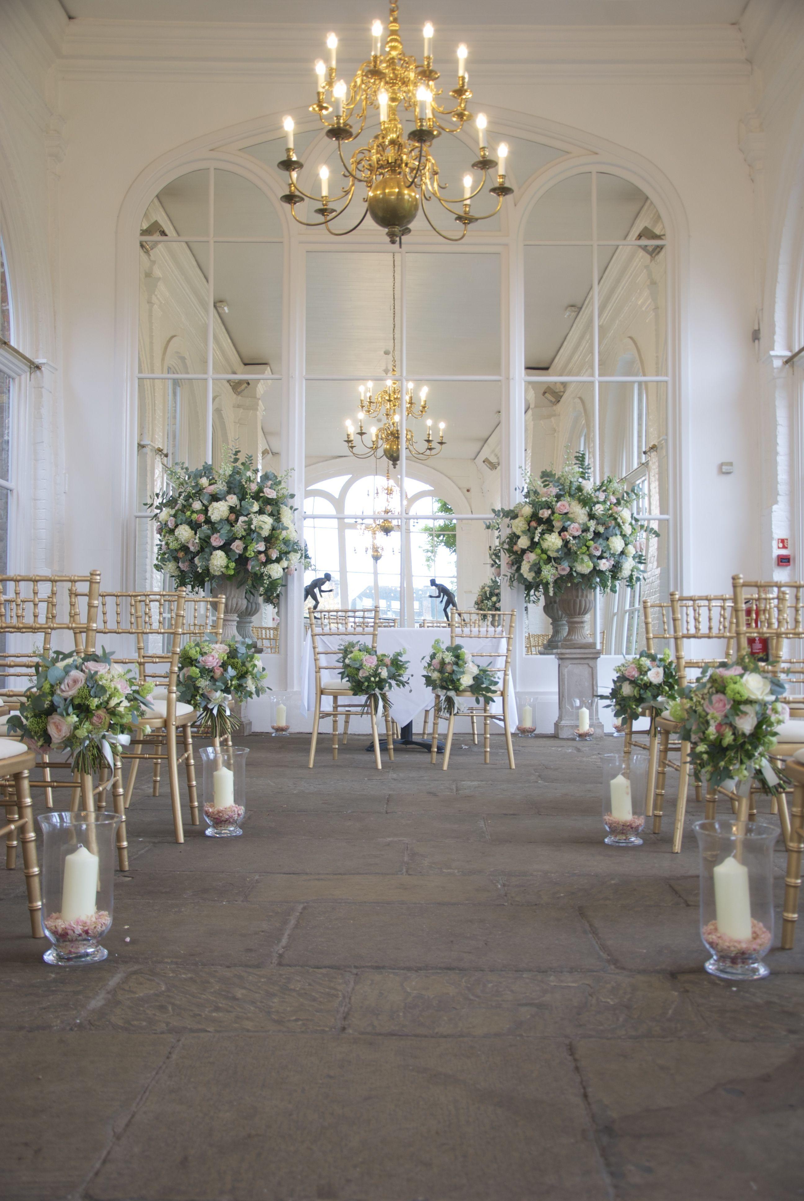 The Orangery - Holland Park blush wedding venue flowers by ...