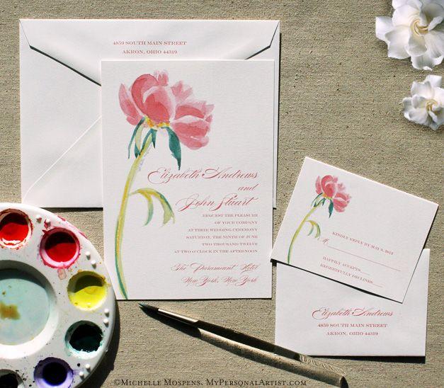 Painted Pink Peony Wedding Invitations / MospensStudio.com