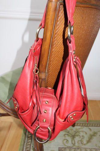 Cettu Shoulder Bag Purse Red Leather Fringe Detail Michael Kors Sample 250 Ebay
