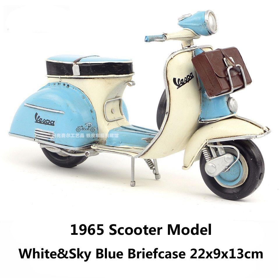 1965 Scooter Model Blue With Briefcase Handmade Antique Vintage Metal Craft Collection Decoration Gift Vespa Scooters Vespa Vespa Models