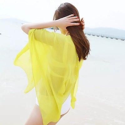 b9ecbe8f2c8a0 Women Sexy Chiffon Bikini Cover Up Beach Swimwear Scarf Pareo Sarong Wrap