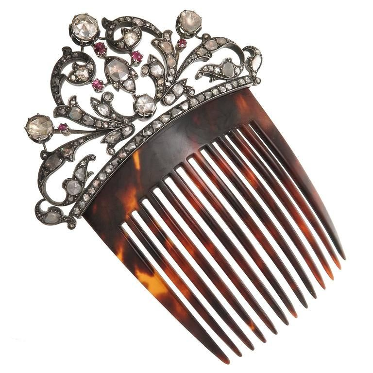 late Victorian Large Diamond Silver Gold Hair Comb