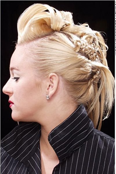 Intricare blonde braided updo
