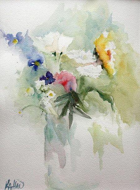 Watercolor Art Floral Flowers In Vase Painting Flower Painting Art Painting