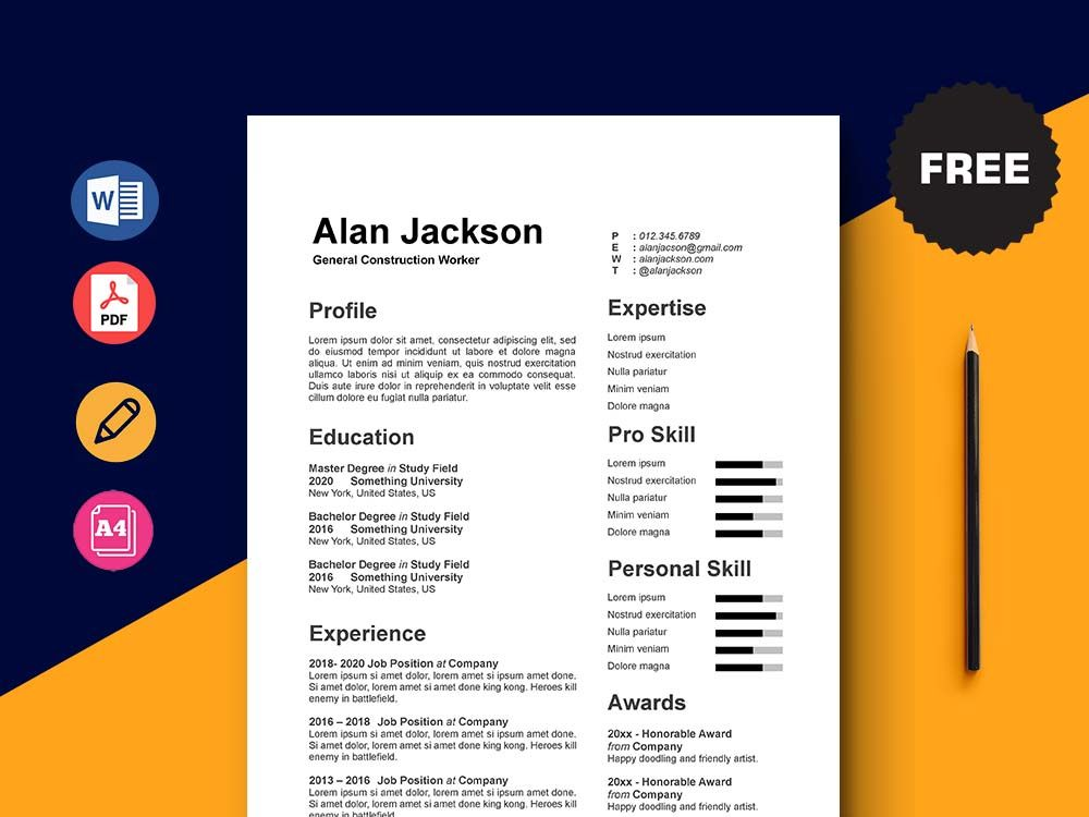 Free general construction worker resume template in 2020
