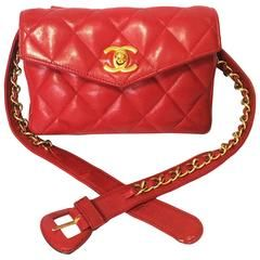 841f072ae9bd Vintage CHANEL lipstick red leather waist bag, fanny pack with golden chain  belt
