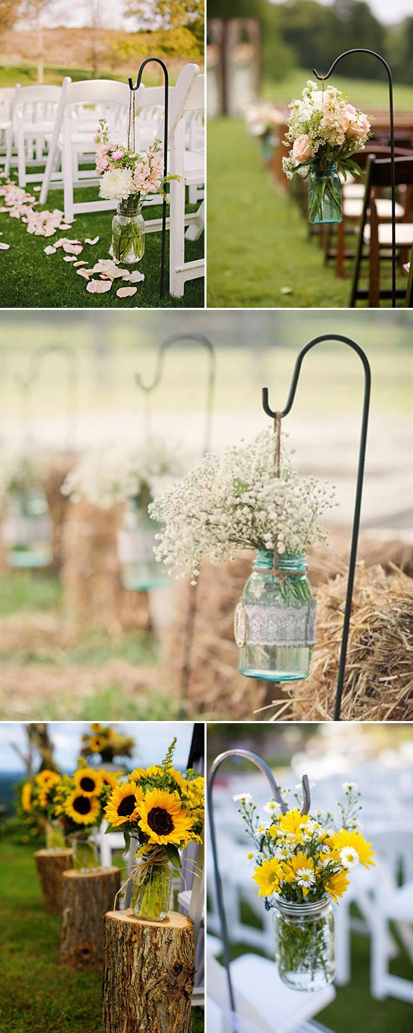 rustic outdoor wedding aisle decorations with mason jars and flowers  http://www.jex… | Outdoor wedding decorations, Wedding aisle outdoor,  Wedding aisle decorations