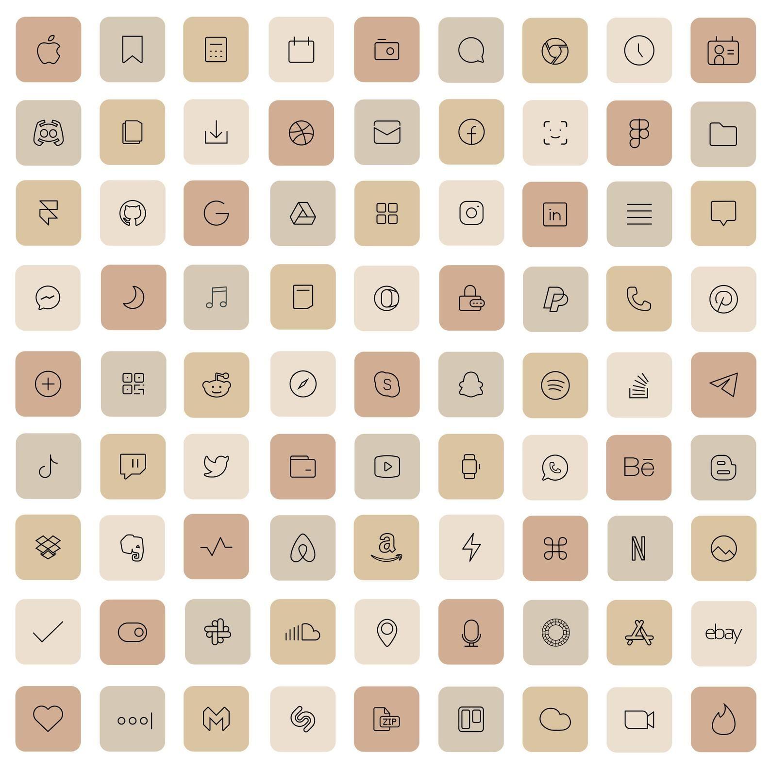 83 Cream iOS 14 App Icons Light Nude Beige Mood Mo