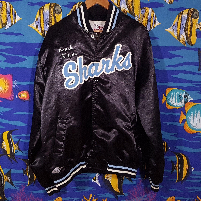 Vintage Sharks Varsity Jacket Size Xxl Silk Bomber Starter Jacket Mlb Baseball Team Jacket Streetwear Tracksuit Track Jacke Varsity Jacket Team Jackets Jackets