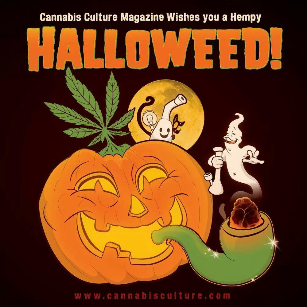 Halloweed cannabis culture magazine cover art halloween