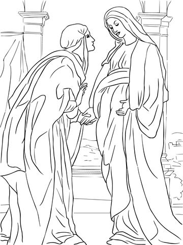 Visitation Of Mary To Elizabeth Coloring Page From Jesus Nativity