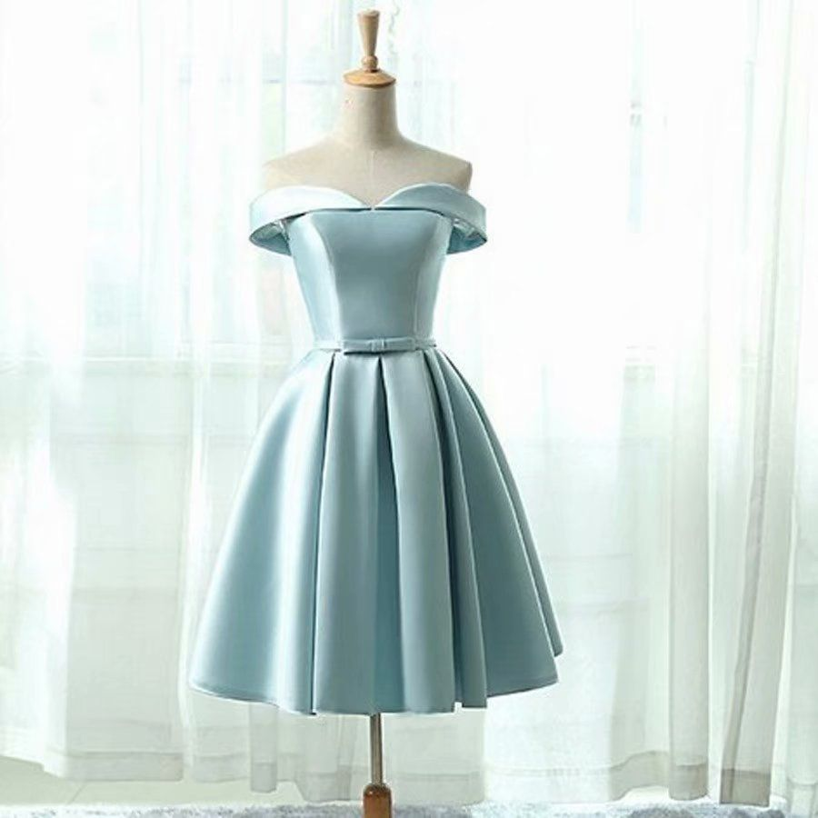 Short Prom Dresses 2018 Strapless Vintage Light Blue Dress For Homecoming Party Mini Gowns