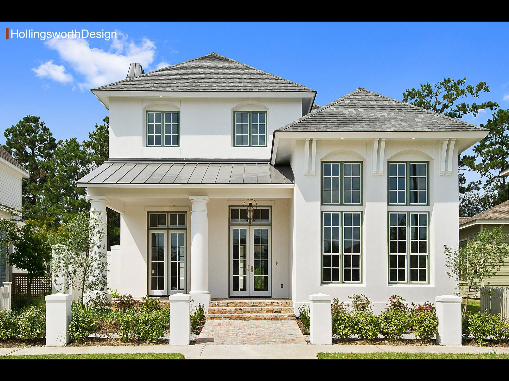Curb Appeal White Exterior Louisiana Home Narrow Lot House Plans Traditional House Plans Narrow Lot House