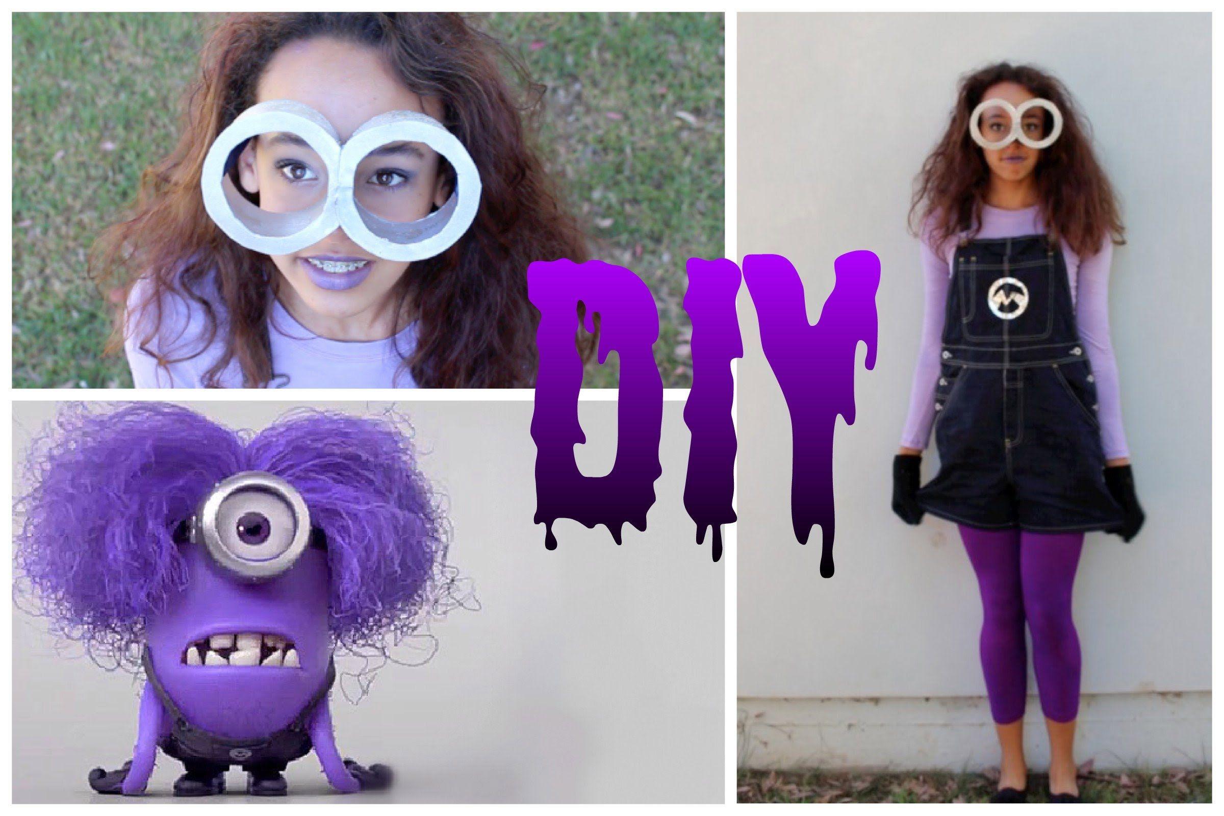 Diy Purple Minion Costume Makeup Hair Purple Minion Costume Minion Costumes Purple Minions
