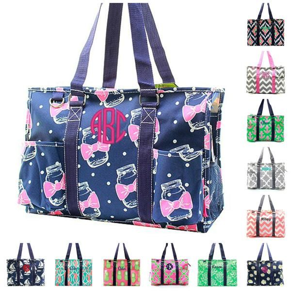36e329b8c343 Personalized Embroidery - Monogram or Name Included Zip Top Organizing  Utility Tote - perfect tote for a diaper bag