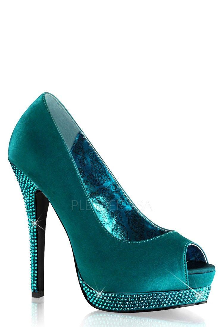 Turquoise Peep Toe Rhinestone Platform Pump High High Pump Heels Satin   heels aa2df1