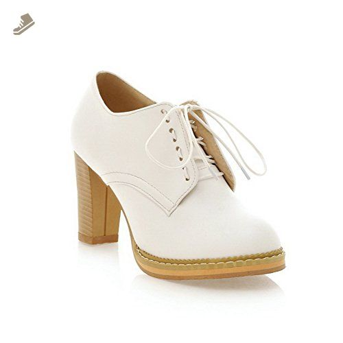 Womens Bandage Lace Platform Chunky Heels White Imitated Leather Boots - 7 B(M) US