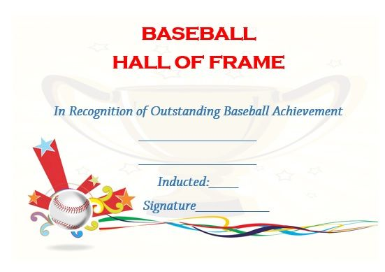 baseball hall of fame certificate template | Baseball certificate ...