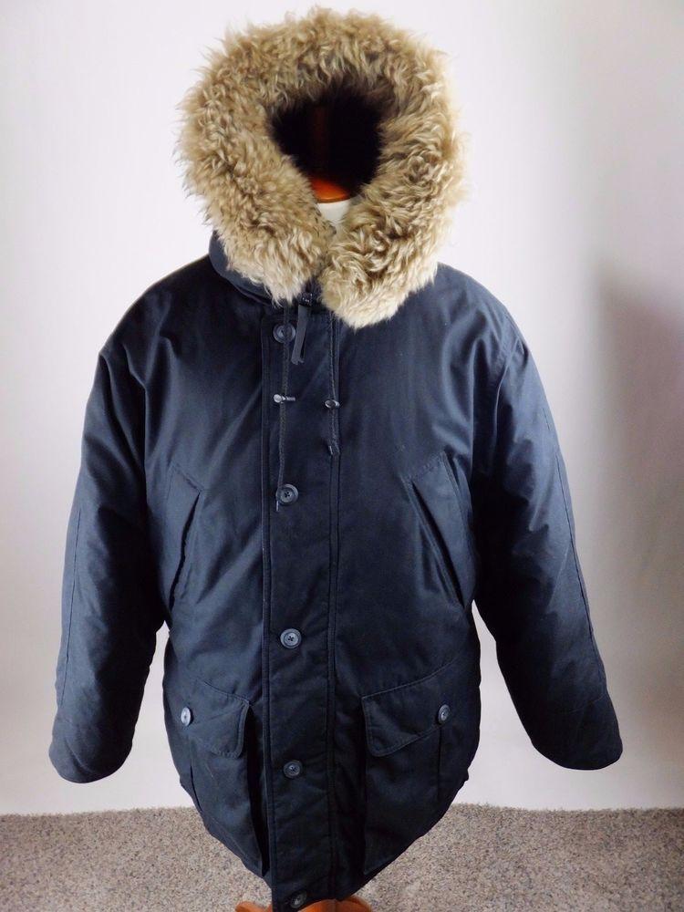 5fb3df9c6ff8 EDDIE BAUER Superior Polar Parka Goose Down Black Fur Jacket Coat Men XL   EddieBauer  Parka