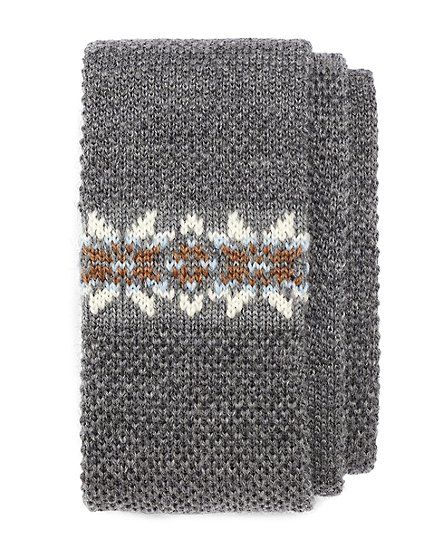 Brooks Brothers Fair Isle Knit Tie Grey | The knitted tie ...