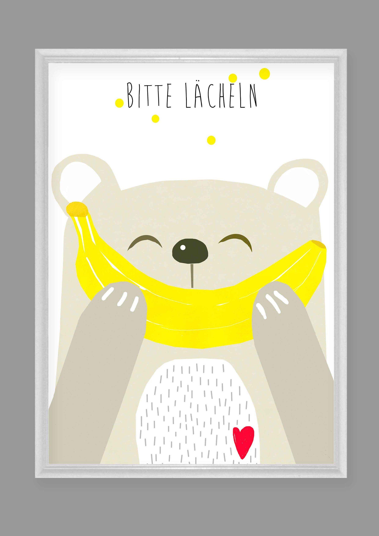 """Kinderzimmerbild,Kinderzimmerposter,Bär""""Bitte lächeln"""