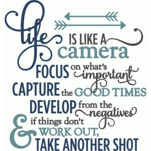 Silhouette Design Store: Life Is Like A Camera - Layered Phrase