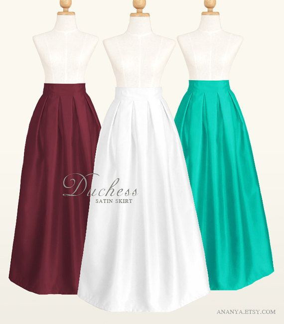Duchess Satin Long Ball Gown Skirt With Lining And Pockets