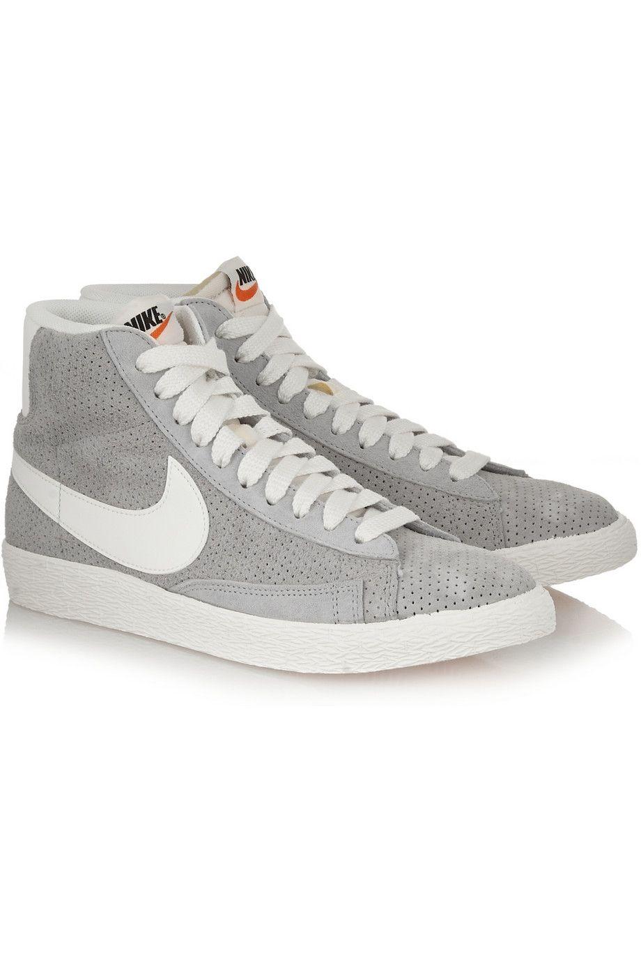 size 40 4a2da b9357 Nike   Blazer perforated suede high-top sneakers   NET-A-PORTER.COM