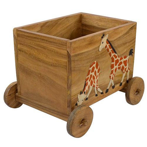 Carved And Painted Giraffe Acacia Wood Storage Toy Box With Wheels Toy Storage Boxes Toy Wagon Toy Boxes