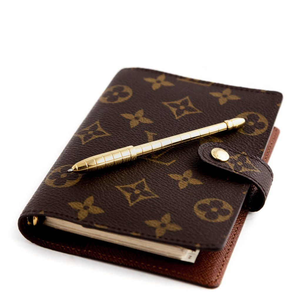 Louis vuitton monogram small ring agenda cover u gold ballpoint pen