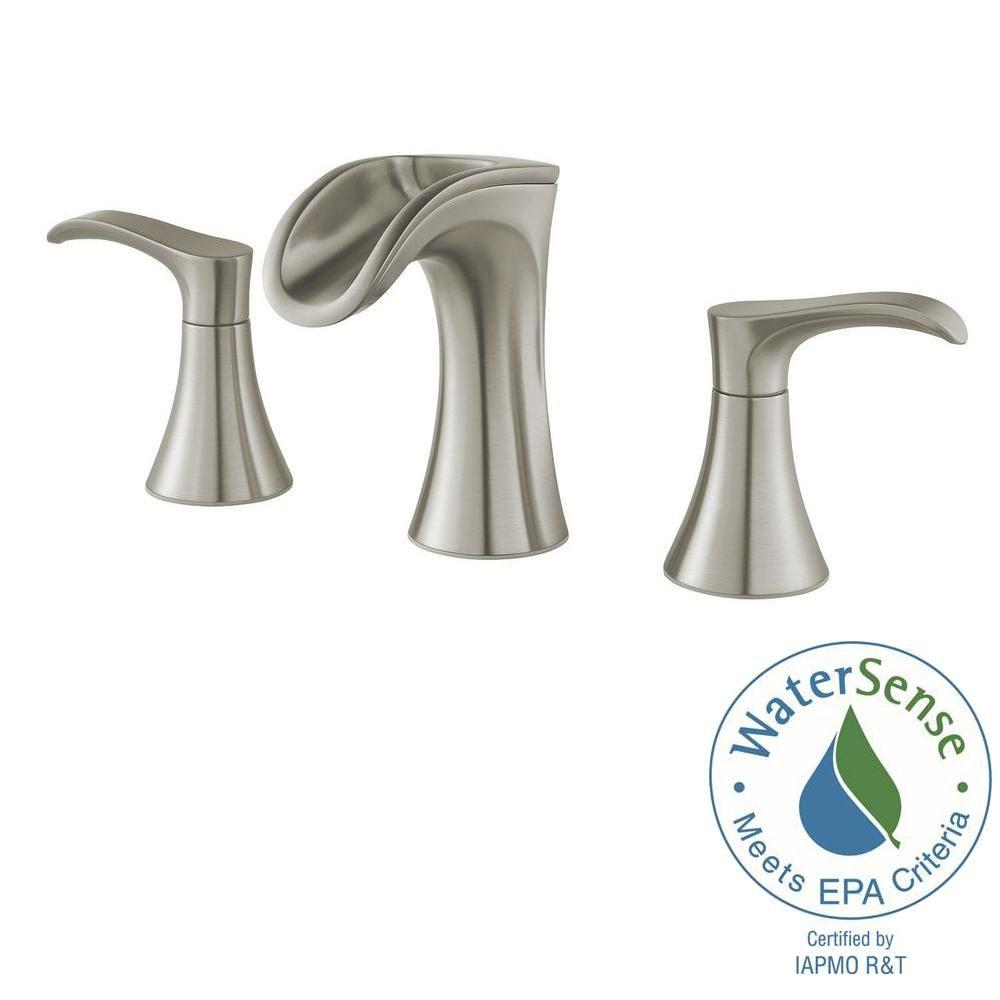 Widespread 2 Handle Waterfall Bathroom Faucet In Brushed Nickel