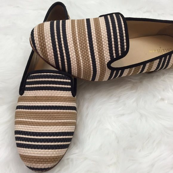 Quirky Striped Flats Used several times.  Top part is in excellent condition.  Al the wear is at the sole.  Still in great wearable condition. Cole Haan Shoes Flats & Loafers