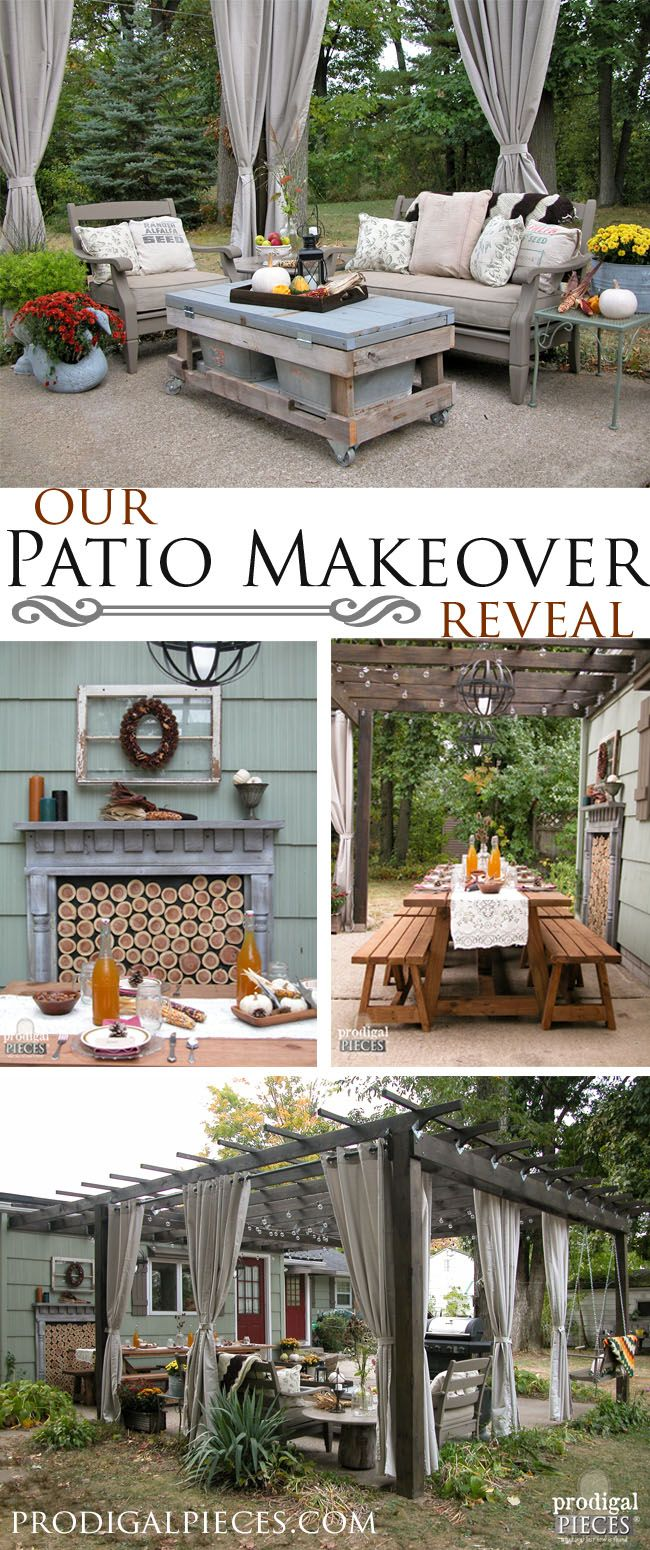 our patio reveal diy patio faux fireplace and pergolas