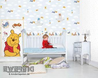 Cool Winnie Pooh und seinde Freunde tr umen und schlummern auf den Wolken Tapeten f r das Babyzimmer