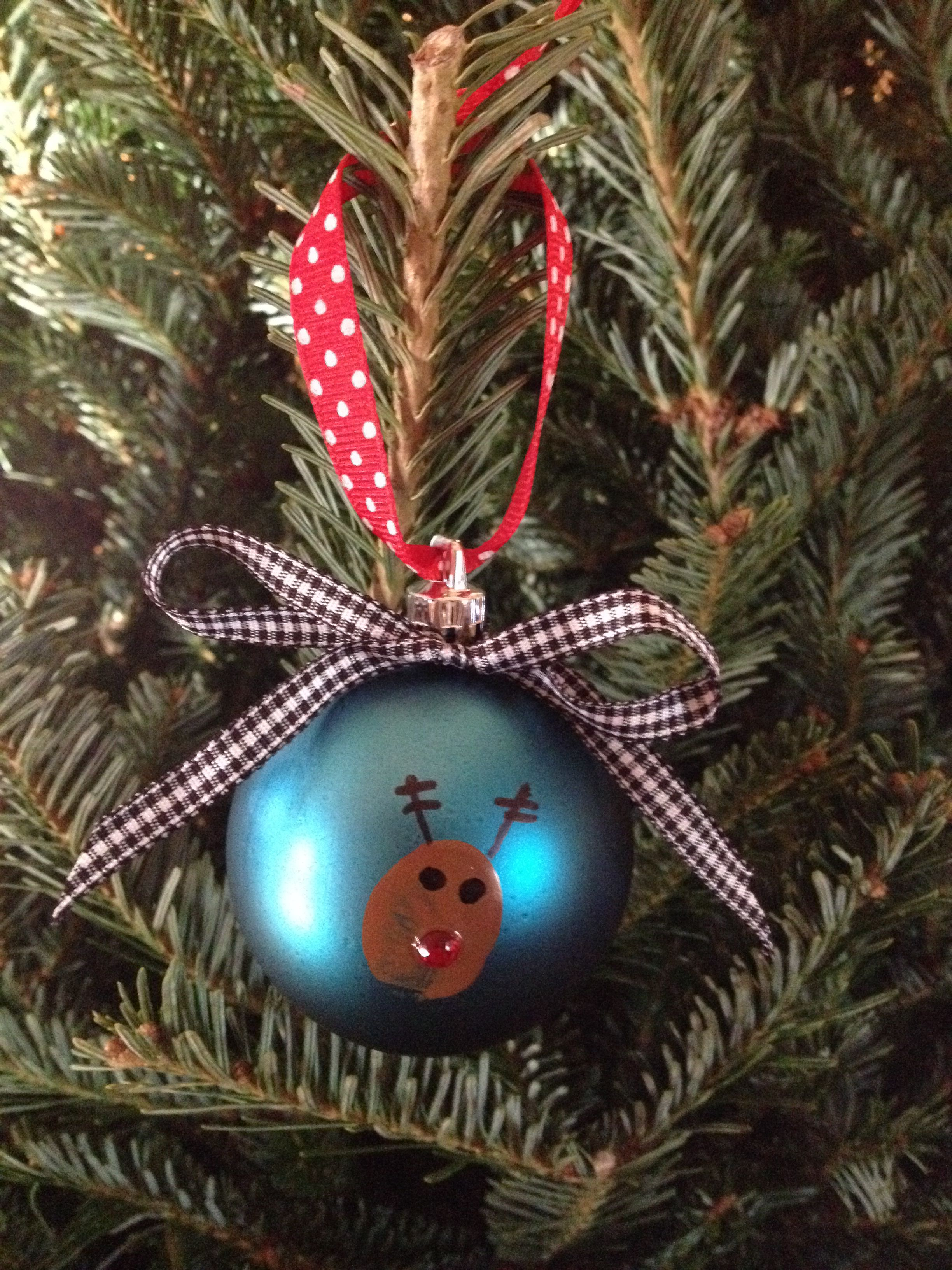 Thumbprint Reindeer Ornament Great For Kids To Make Christmas Ornaments Christmas Reindeer Christmas Crafts