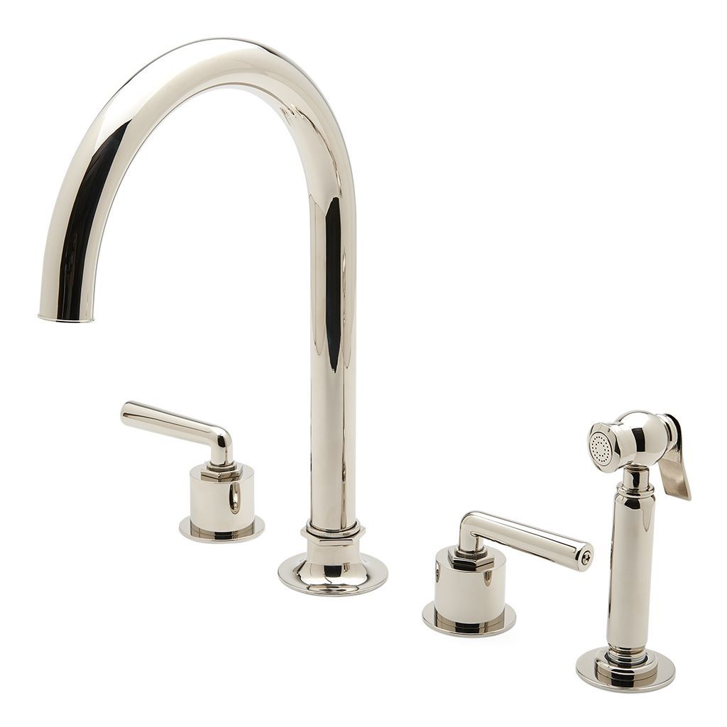 Henry Three Hole Gooseneck Kitchen Faucet, Metal Lever Handles and ...