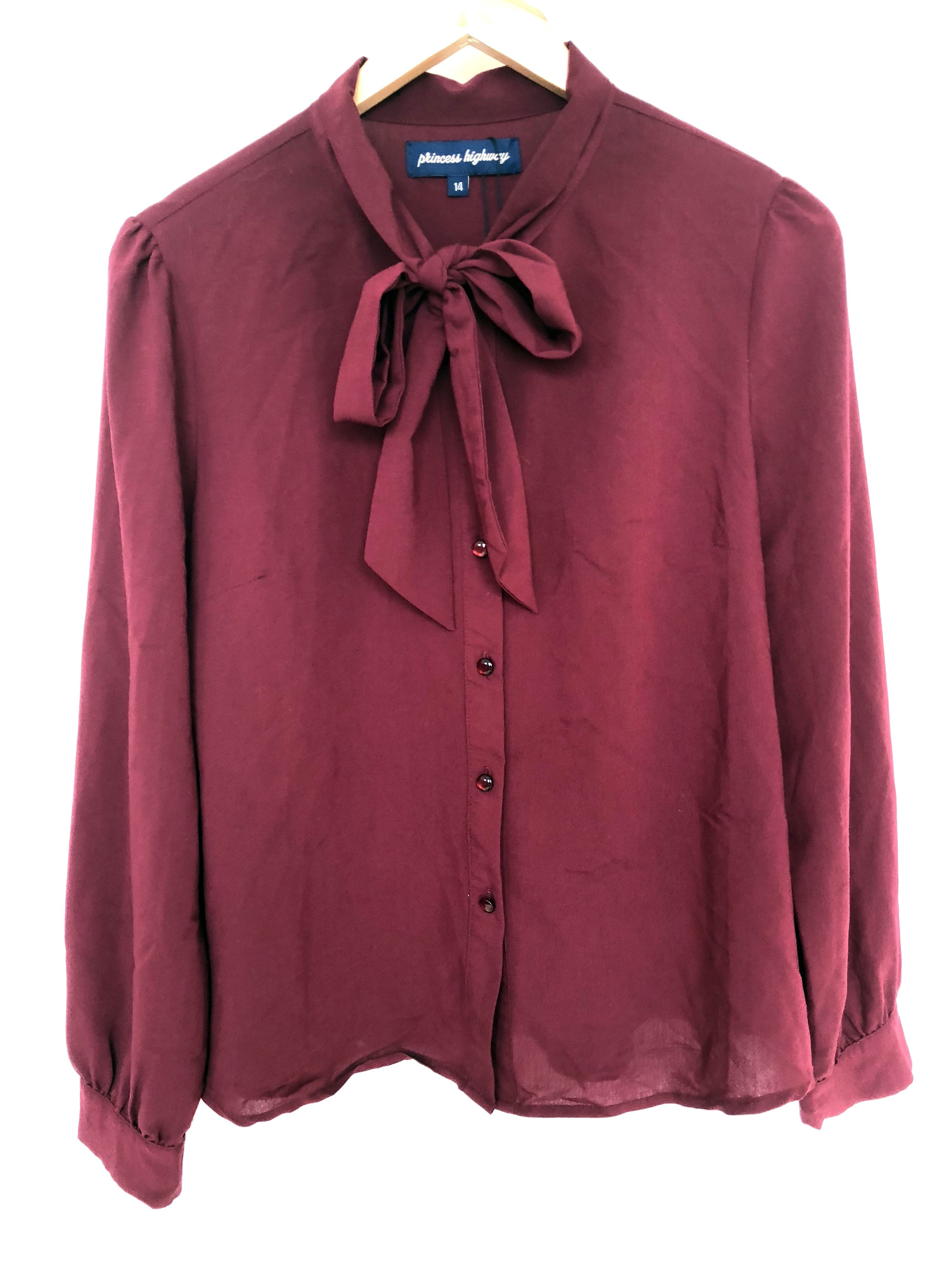 c3ae05fed PRINCESS HIGHWAY Ladies - Size 14 - Maroon Red Button Up Blouse with Tie  Neck