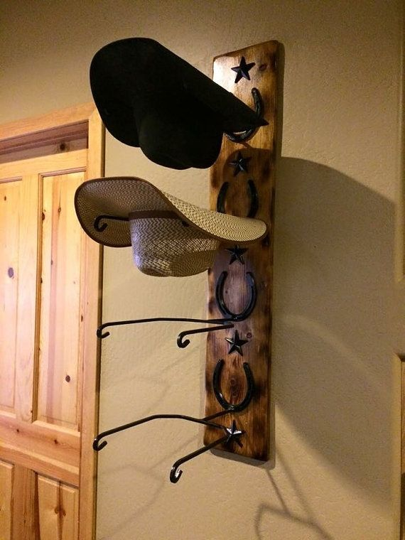 Custom Handmade Cowboy Hat Rack Perfect For Those Cowboy Hats To Protect The Shape Can Me Stained Light Or Dark Pleas Diy Hat Rack Cowboy Hat Rack Wall Hats
