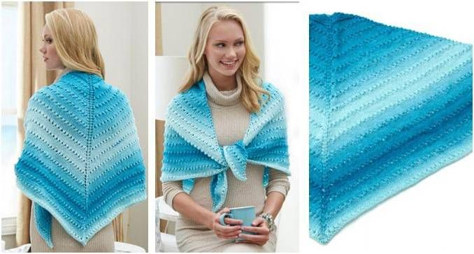 Simple Knit Lace Triangle Shawl [FREE Knitting Pattern]
