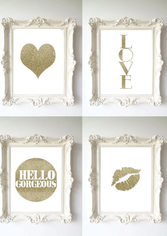 Wall Decor   Home Decor   Gold Glitter Lips   Lips Print   Lips Decor