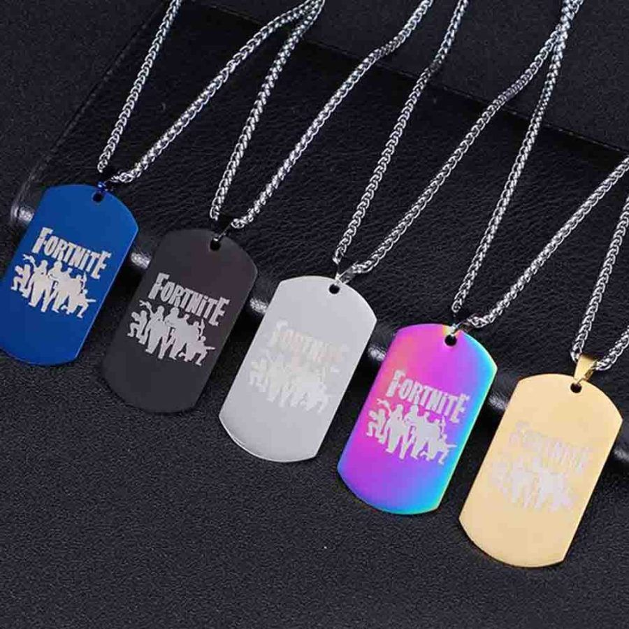 Fortnite Necklace Skull Trooper Game Pendant Chain Wholesale Fashion Jewelry Battle Royale Dog Tag Logo Skull Necklace Unisex Necklace Curved Bar Necklace