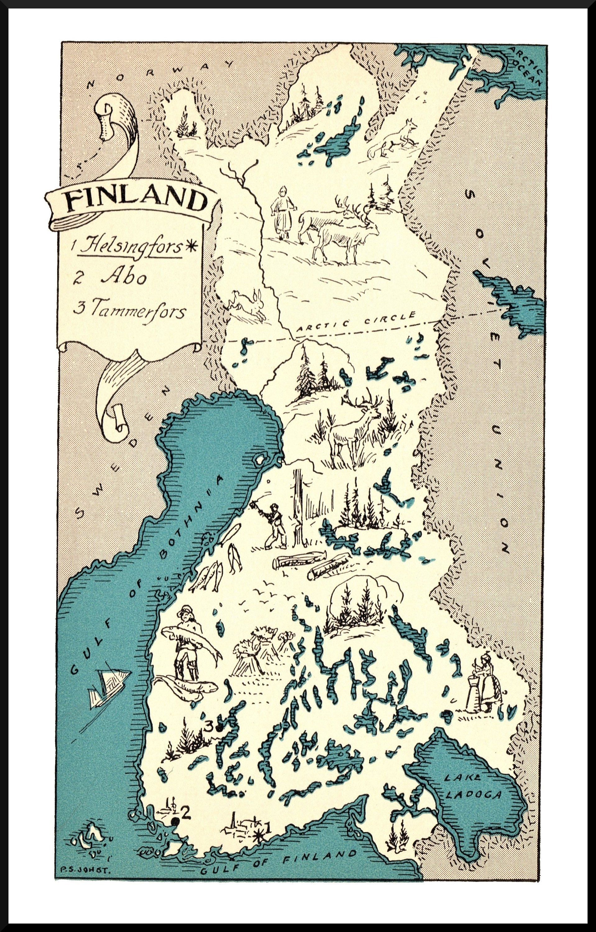 30 S Vintage Finland Picture Map Animated Rare Map Print Etsy In 2021 Map Print Art Map Art