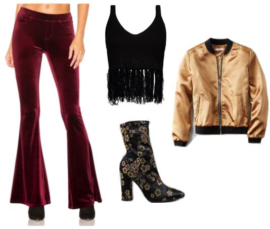 1970s Outfit Inspiration Very Sophia From Girlboss Includes Red Velvet Flared Pants Black Fringe Crop Top Em Stylish Denim Fashion Tv Summer Fashion 2017