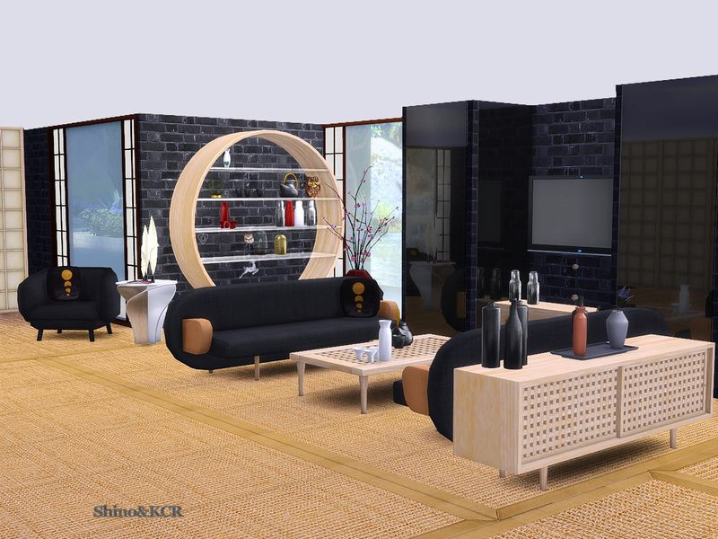 Livingroom Furniture And Decorative With Japanese Touch Found In TSR  Category U0027Sims 4 Living Room