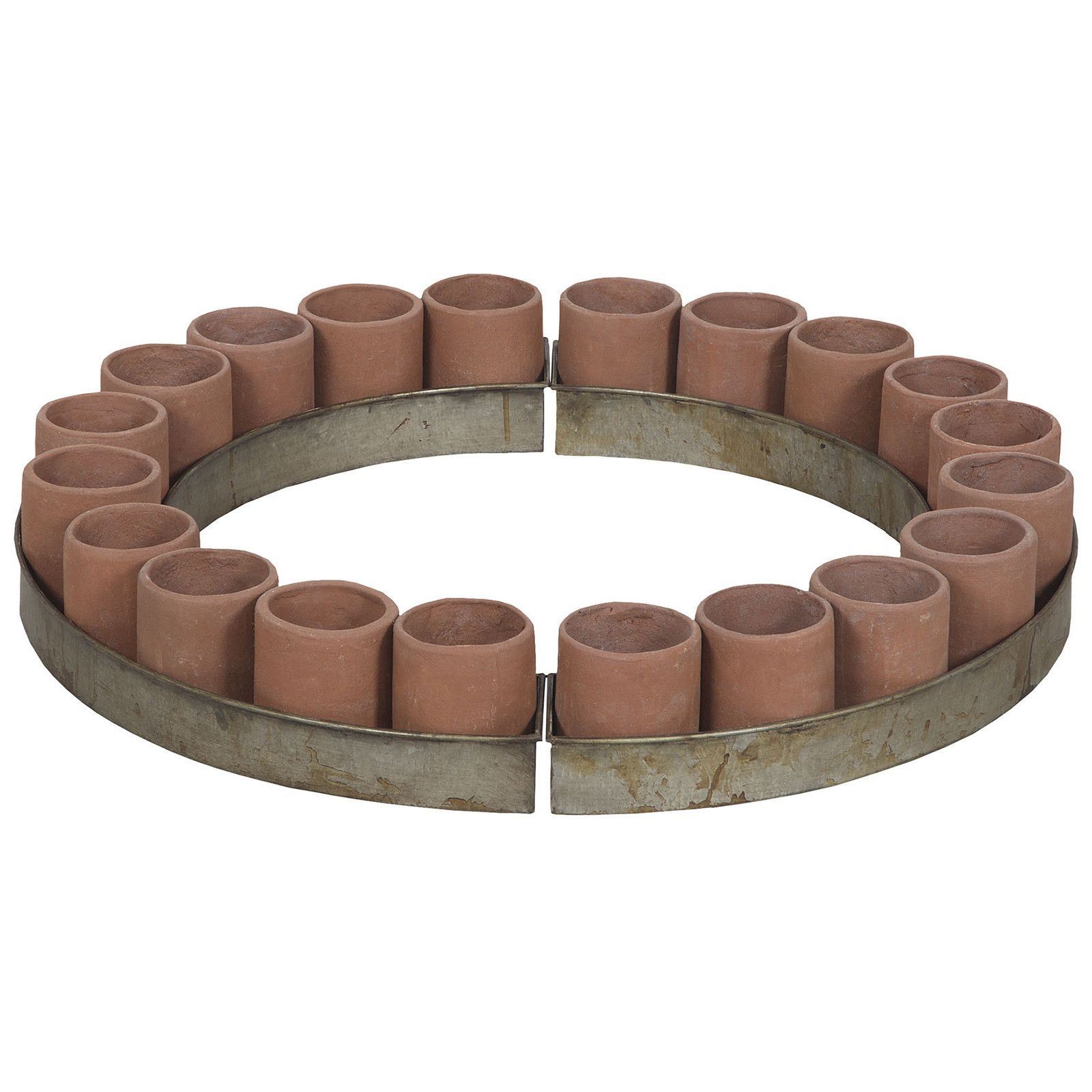 Terra cotta tea light ring in terracotta terra cotta terracotta